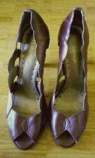 BCBG Girls high heel peep toe pumps shoes scalloped dark copper brown 8  38 1/2