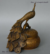 "9"" Marked Chinese Old Pure Bronze peacock peafowl Statue Incense Burner Censer"