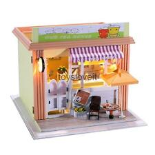 DIY Doll House Tea Shop Miniature Dollhouse w/ Light Kit Collectible Gift
