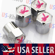 Playboy Bunny Logo Valves Stems Caps Covers Chromed PB Play Boy Tire Emblem USA