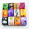 Halloween Cartoon Grosgrain Ribbon 25mm Spooky Bats Witches Spider Pattern
