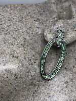 Vintage Green Hoop Earrings Genuine Chrome Diopside 925 Sterling Silver