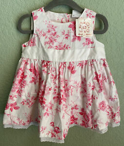 NWT New Hanna Andersson 6-12 Months White and Pink Floral Dress