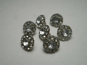 """7 Tiny Matching Silver w/ Rhinestone Vintage Buttons 3/8"""" RS"""