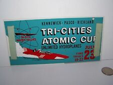 TRI-CITIES ATOMIC CUP WATER FOLLIES WINDOW SIGN HYDROPLANE HYDRO RACING WASH