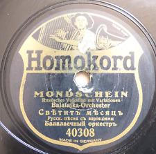 russian USSR 78 RPM- balalaika orchestra- mondschein- homokord germany 1930's
