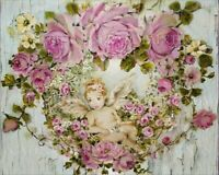 GORGEOUS SHABBY CHIC CHERUB Garland of Pink Roses Painting CANVAS PRINT