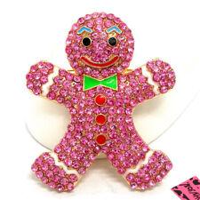 Tie Snowman Charm Brooch Pin Gifts Betsey Johnson Rhinestone Cute Pink Bow