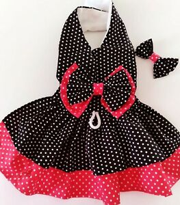 DOG DRESS HARNESS  BLACK  RED DOTS  NEW FREE SHIPPING