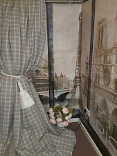 """Made To Measure 86""""W112""""D Natural Checked100% Linen Blackout Lined Bay Curtains"""