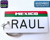 Personalized Mexico License Plate Keychain Tag - Any Name - Souvenir Travel Gift