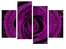"PLUM PURPLE ROSE CANVAS WALL ART PICTURE SPLIT 4 PANELS 40"" X 28"""