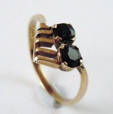 100% Genuine 585 14k Solid Yellow Gold and Natural Sapphire Ring US 8