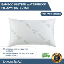 Dreamaker Soft Bamboo Knitted Waterproof Pillow Protector Twin Pack 48*73 cm