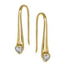 Yellow Gold Flashed Sterling Silver CZ Heart Elongated Teardrop Hook Earrings