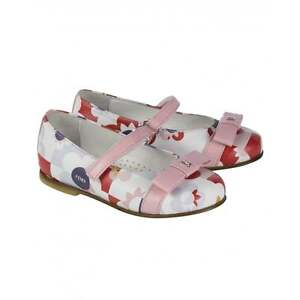 NIB NEW Fendi girls pink floral print leather ballet shoes mary jane 20 21 22 23