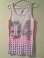 "JUSTICE ""04"" Pink, Purple Polka Dots, Silver Sparkle Tank Top Girls Sz 12! Great"