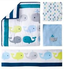 Circo 4-Piece Crib Nursery Bedding Set Whales 'N Waves Baby Boy Nautical Themed