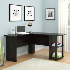 L-Shaped Desk with Side Storage Multiple Finishes Dark Russet Cherry