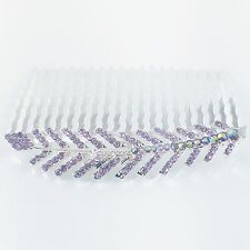 Hair Comb Hairpin use Swarovski Crystal Elegant Charming Leaf Silver Purple Z36