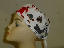 Male Female SCRUB HAT NURSE DOCTOR COOK VET CHEMO HAIR LOSS Ties. FOREST ANIMALS