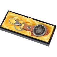 Cannon Logo Porte-clés porte-clés en cuir brun pour les motos Royal Enfield