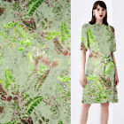 Floral and Green leaves design silk burnt-out fabric silk blended fabric,SBO074
