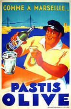 PASTIS OLIVE, 1936 Vintage French Liquor Advertising Giclee Canvas Print 20x32