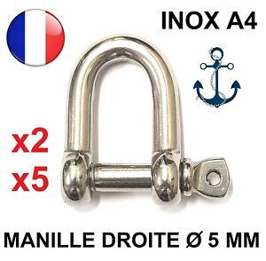 Manille droite forgée libre Dia. 5 MM - INOX A4 - ACCASTILLAGE BATEAU NAUTIQUE