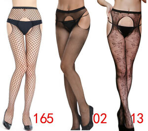 Sexy Crotchless Pantyhose Fishnet Stocking Tights Nightwear 4open Plus Size 6-26