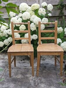 Antique Dutch continental pine rustic kitchen dining chairs