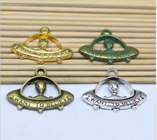 wholesale 10/30pcs Retro Style alloy ancient silver The aliens Charms Pendants