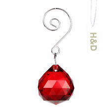 Red Crystal Ball Sphere with Note Hook For Suncatcher Chandelier Wedding Decor
