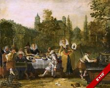 17TH CENTURY DUTCH NOBILITY HAVING A PICNIC PAINTING ART REAL CANVAS PRINT