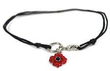Remembrance Poppy 4 Petals Charm Bracelet Enamel Crystal Charity Donation