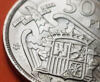 @ESTRELLA TRUCADA@ 50 PESETAS 1957 * 73 moneda de Nickel España FRANCO 1973 SC