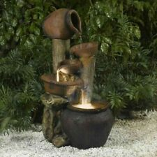 New Clay Pot Fiberglass Rustic Style Indoor & Outdoor Water Fountain Home Gift