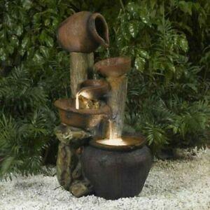 New Clay Pot Fiberglass Rustic Style Indoor & Outdoor Water Fountain Home Gift