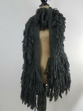 Abercrombie Fitch Womens Scarf Long Charcoal Gray Wool Blend Knit Fringes Winter