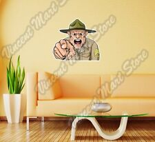 """Angry Looking Army Drill Sergeant Wall Sticker Room Interior Decor 25""""X20"""""""
