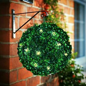 2x Solar Power Topiary Ball 20 Led Xmax Green Light Garden Hanging Decoration
