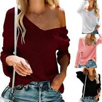 Women Casual Knit V-Neck Long Sleeve Over-sized Sweater Slim Business Jumper Top