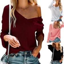 Womens Long Sleeve Sweater Off Shoulder Sweatshirt Jumper Pullover Tops Blouse