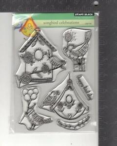 New Penny Black Rubber Stamp clear set SONGBIRD CELEBRATIONS  free USA ship