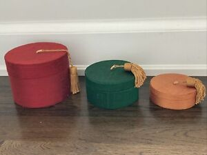 Set of 3 raw silk round nesting boxes Red Green Gold / yellow