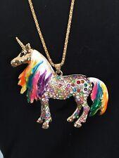 Betsey Johnson Rainbow Unicorn Pendant And Necklace Enamel Rhinestone Goldtone