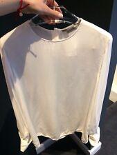 Max Mara Minimalista lavado Seda Superior, top Zolder Max Mara, tapa blanca, tamaño 4 UK