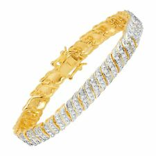 "1/4 ct Diamond 'S' Link Bracelet in 18K Gold-Plated Bronze, 7.5"""