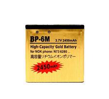Bateria Dorada para Nokia BP-6M Más duración 2450 mAh N73 N77 N93 6234 6288