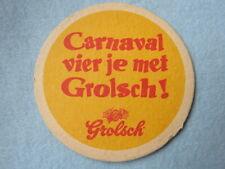 Dutch Beer Coaster ~*~ GROLSCH Browerij Bier ~ Boekelo, The NETHERLANDS Carnaval